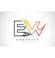 ew creative modern logo design with orange and vector image vector image