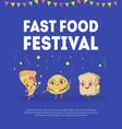 fast food banner template street junk food vector image vector image