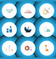 flat icon baby set of nipple tissue cream with vector image vector image