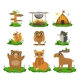 Forest Camping Cute Set vector image vector image