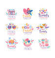 friends forever logo design set happy friendship vector image vector image