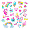 girls fairy stickers with fairy cartoons vector image