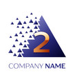 golden number two logo in the blue pixel triangle vector image
