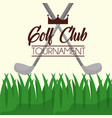 golf clubs tournament on grass poster vector image vector image