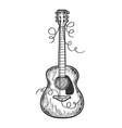 guitar torn strings engraving vector image