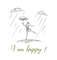 Hand drawn girl dancing under rain with lettering vector image vector image