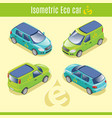 isometric eco electric cars collection vector image vector image