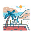 landscape with romantic restaurant table vector image