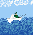 Paper ship with soldier floating on waves vector image vector image