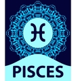 Pisces Fish Zodiac icon with mandala print vector image