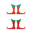 red cartoon christmas elf shoes collection vector image