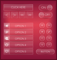 Red interface web buttons and icons set vector image