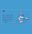 return on investment isometric landing page banner vector image vector image