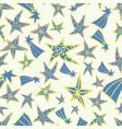 Seamless blue yellow star pattern design