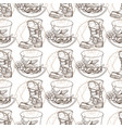 seamless pattern from outline drawings of a hat vector image vector image