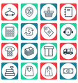 set of 16 ecommerce icons includes discount vector image