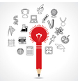 set of educational icon around pencil bulb vector image