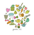 set of garden objects plants pots and tools for vector image
