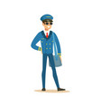 smiling airline pilot character in blue uniform vector image