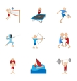 Sports icons set cartoon style vector image vector image