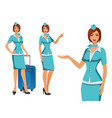 stewardess in blue uniform flying attendants air vector image