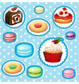 sticker set with different types of desserts vector image