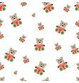 teddy bear seamless pattern on white vector image vector image