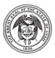 the great seal of the state of utah 1896 vintage vector image vector image