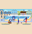 travel lovers getting off tourist shuttle bus vector image