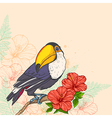 Tropical background with flowers and toucan vector image vector image