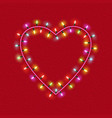 valentines day glowing lights heart on textured vector image vector image