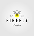 vintage line art firefly logo icon design vector image