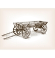 Vintage wooden cart hand drawn sketch vector image vector image