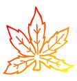 warm gradient line drawing cartoon marijuana leaf vector image vector image