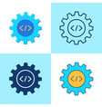 Web development icon set in flat and line style