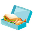 Lunch box with sandwiches and fried chicken vector image