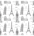 Hand drawn seamless pattern with sights of Europe vector image