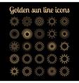Golden sun thin line icons set vector image