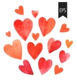 Set of red watercolor hearts vector image