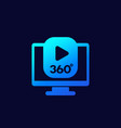 360 degrees video content icon for web vector image