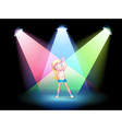 A girl exercising on the stage with spotlights vector image vector image