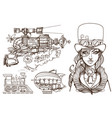 a woman in an old hat and a steampunk gun vector image vector image