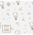 Air balloon seamless pattern Thin line icon vector image vector image
