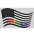 American flag waving with word America vector image vector image