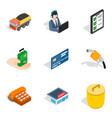 association icons set isometric style