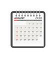 August 2018 calendar calendar notebook page