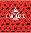 barbecue logo on red seamless pattern vector image