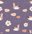beach tropical seamless pattern with mandarin duck vector image vector image