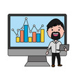 businessman using desktop computer with statistics vector image