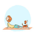 cartoon dog beagle with girl doing yoga vector image